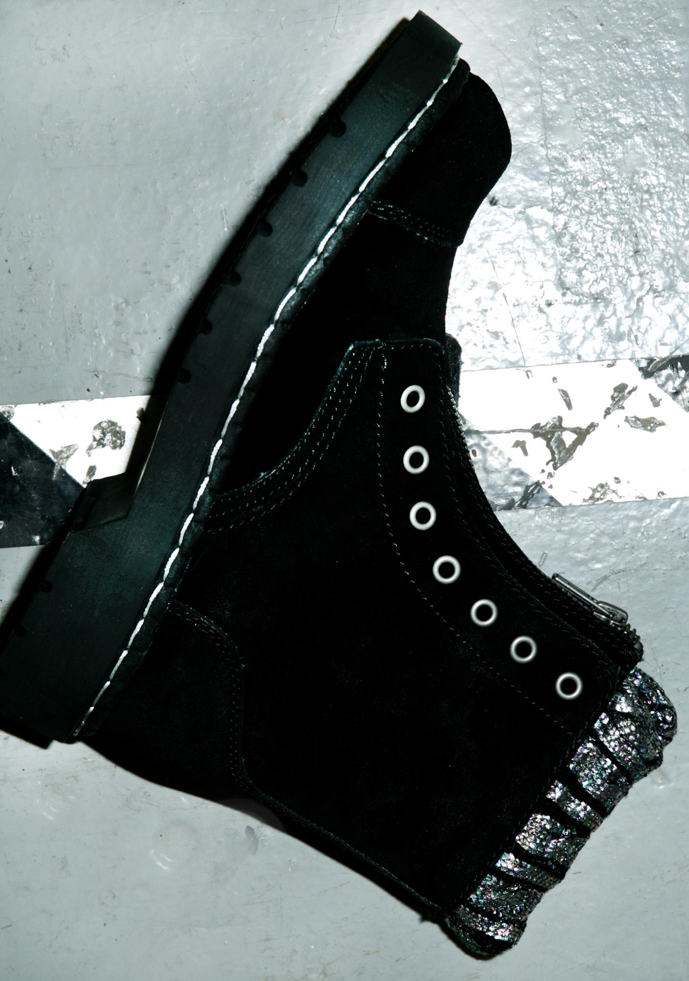 T.U.K. Iridescent Knit Collar Combat Boots