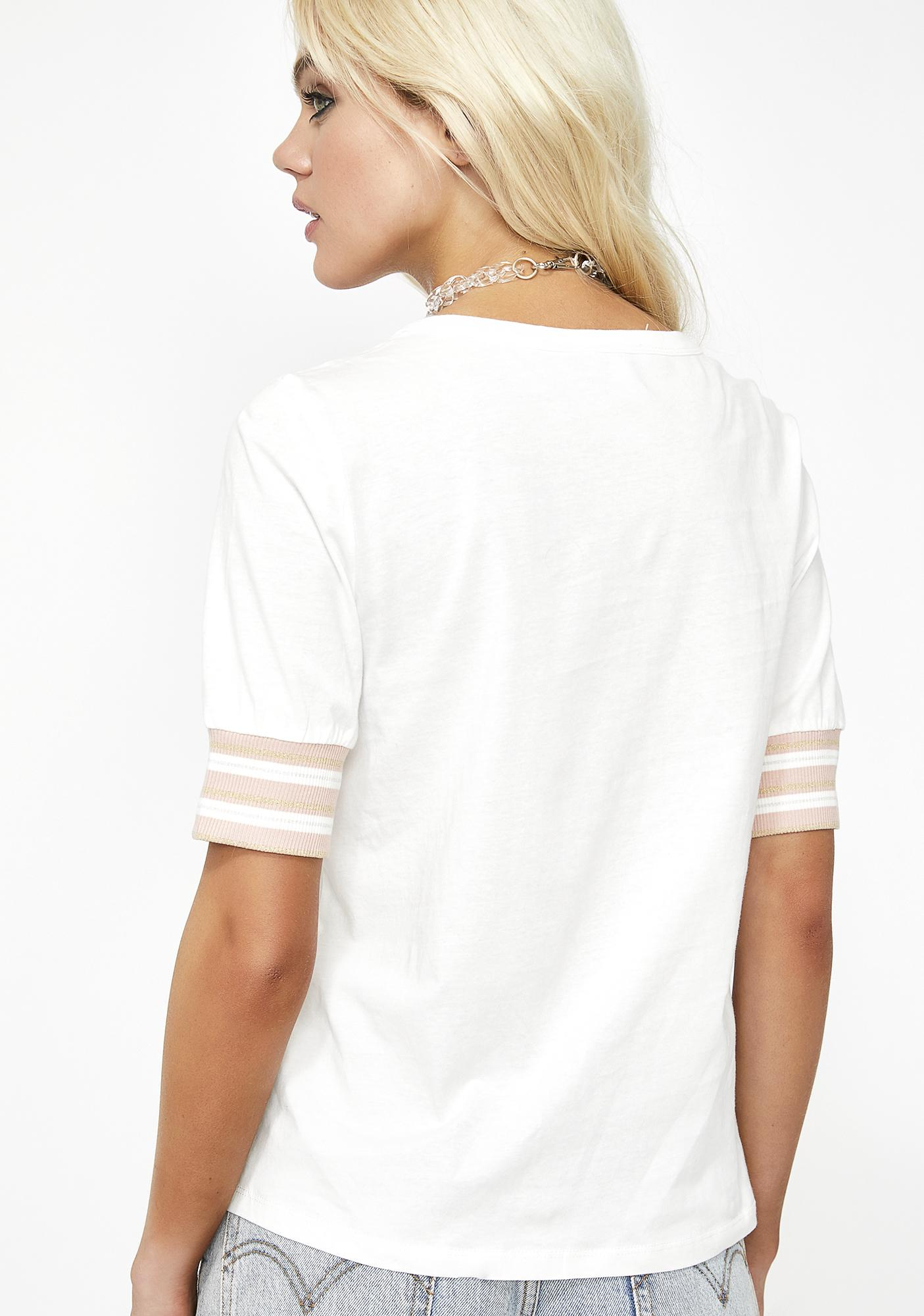 Lady Game On Stripe Sleeve Tee