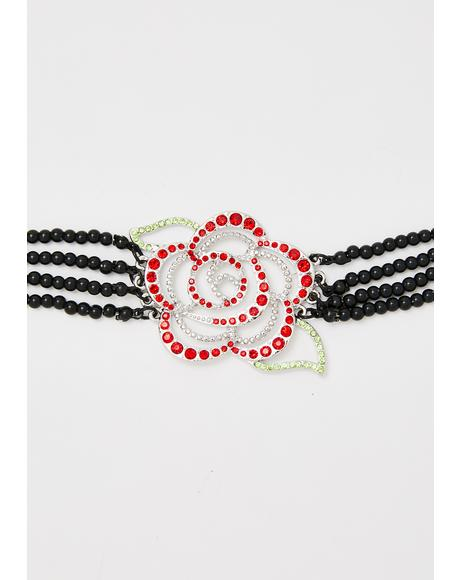 Rose To The Occasion Beaded Choker