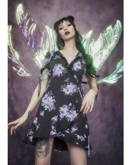 Thorns And Thistles Wraparound Mini Dress