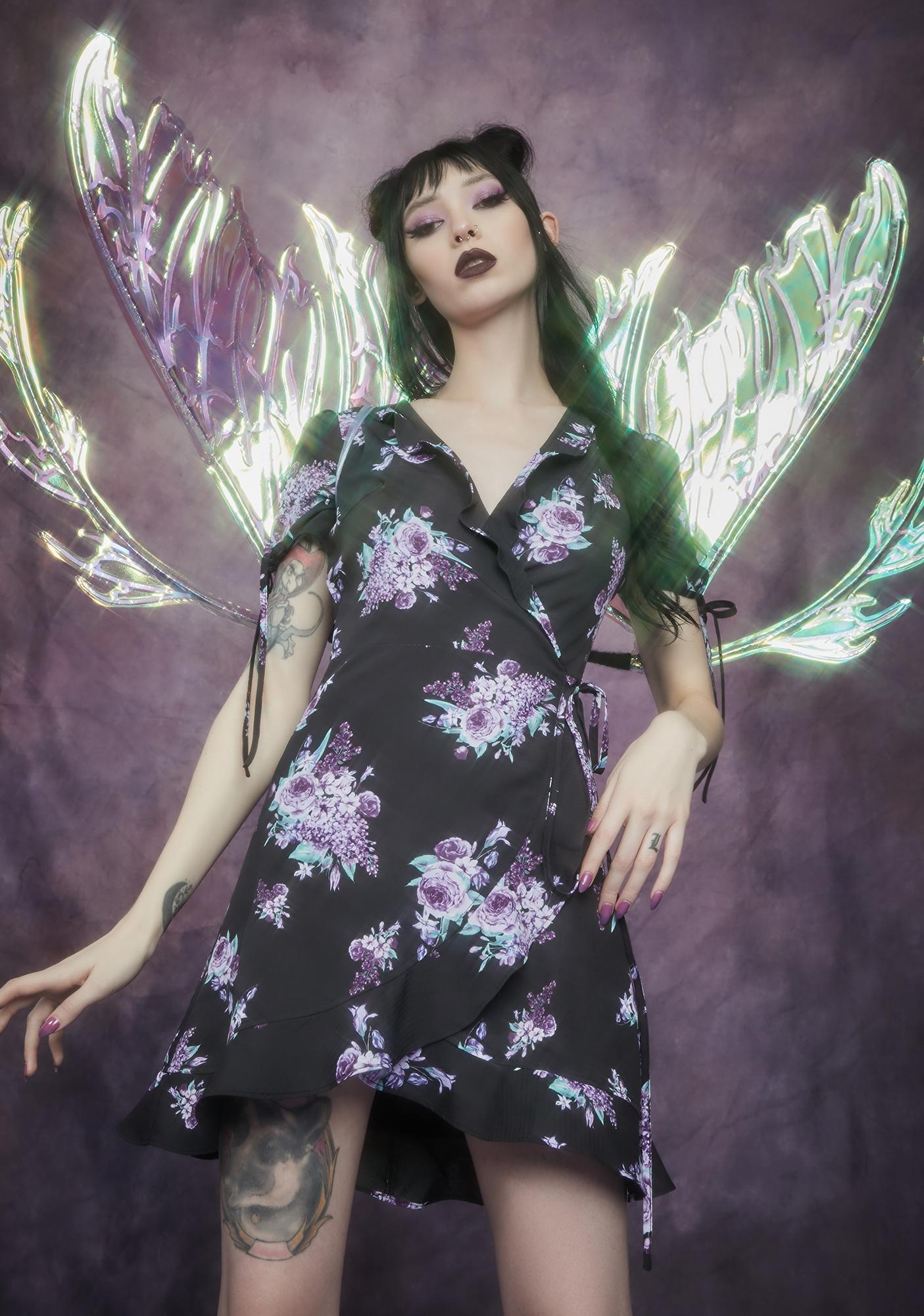 Widow Thorns And Thistles Wraparound Mini Dress