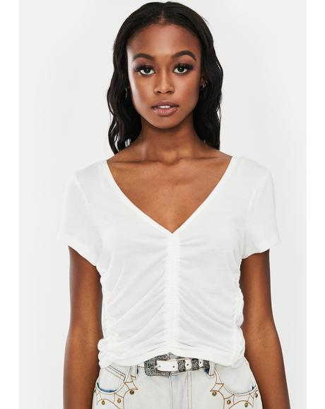 Ruched White V-Neck Tee
