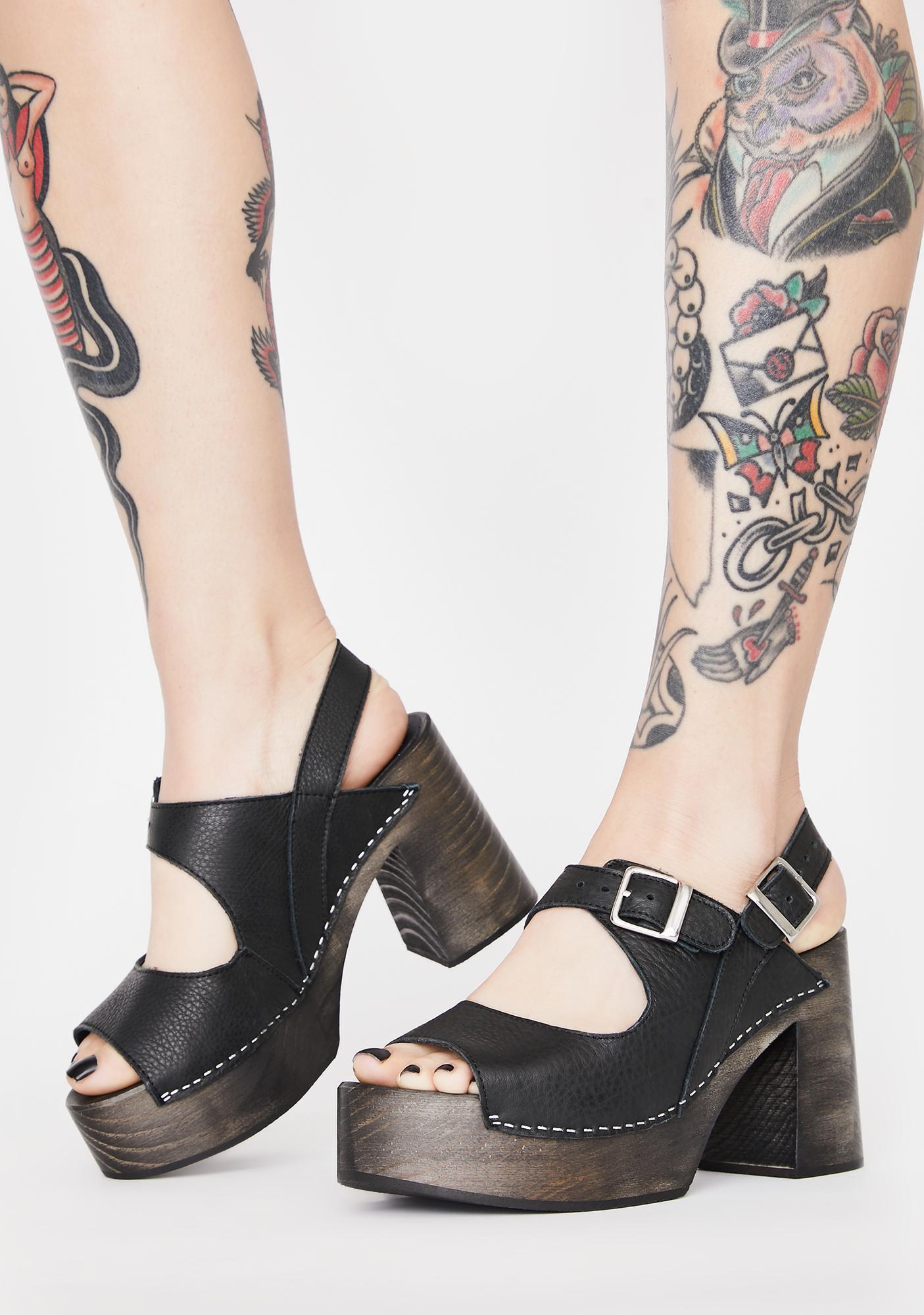 Free People Black Belem's Clog Heels