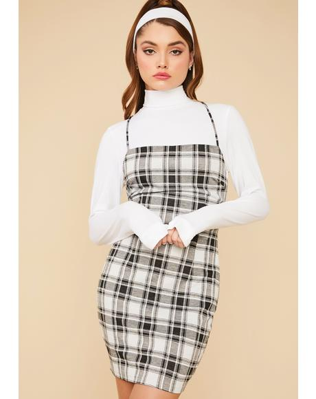 Ash Proper Coach Plaid Open Back Mini Dress