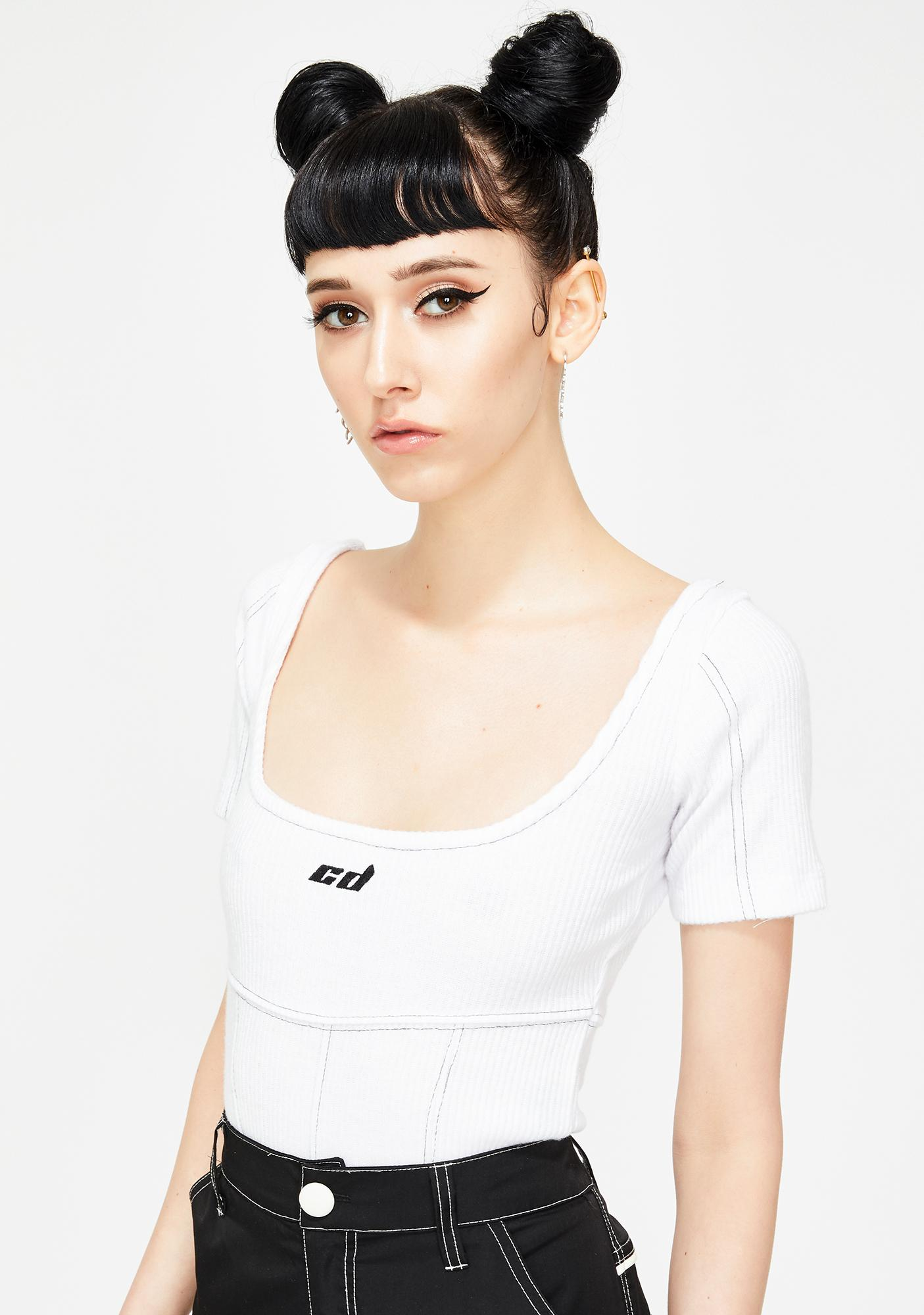 Criminal Damage Contrast Stitch White Bodysuit