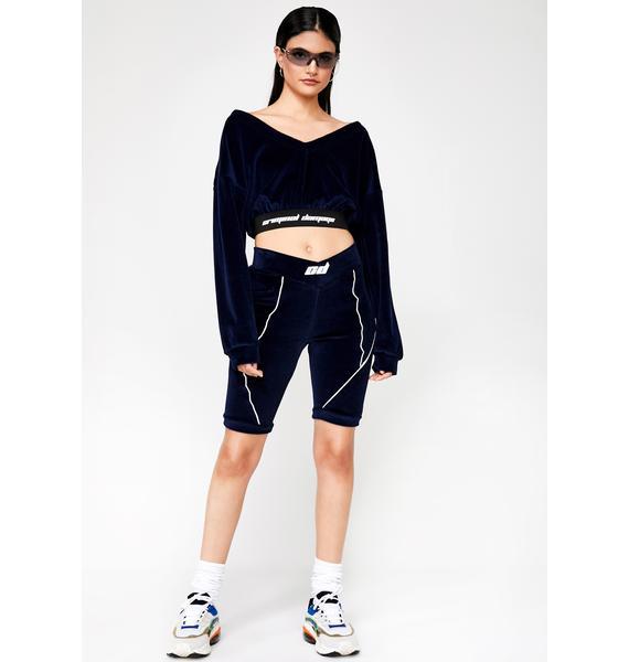 Criminal Damage Velour Cropped Sweater