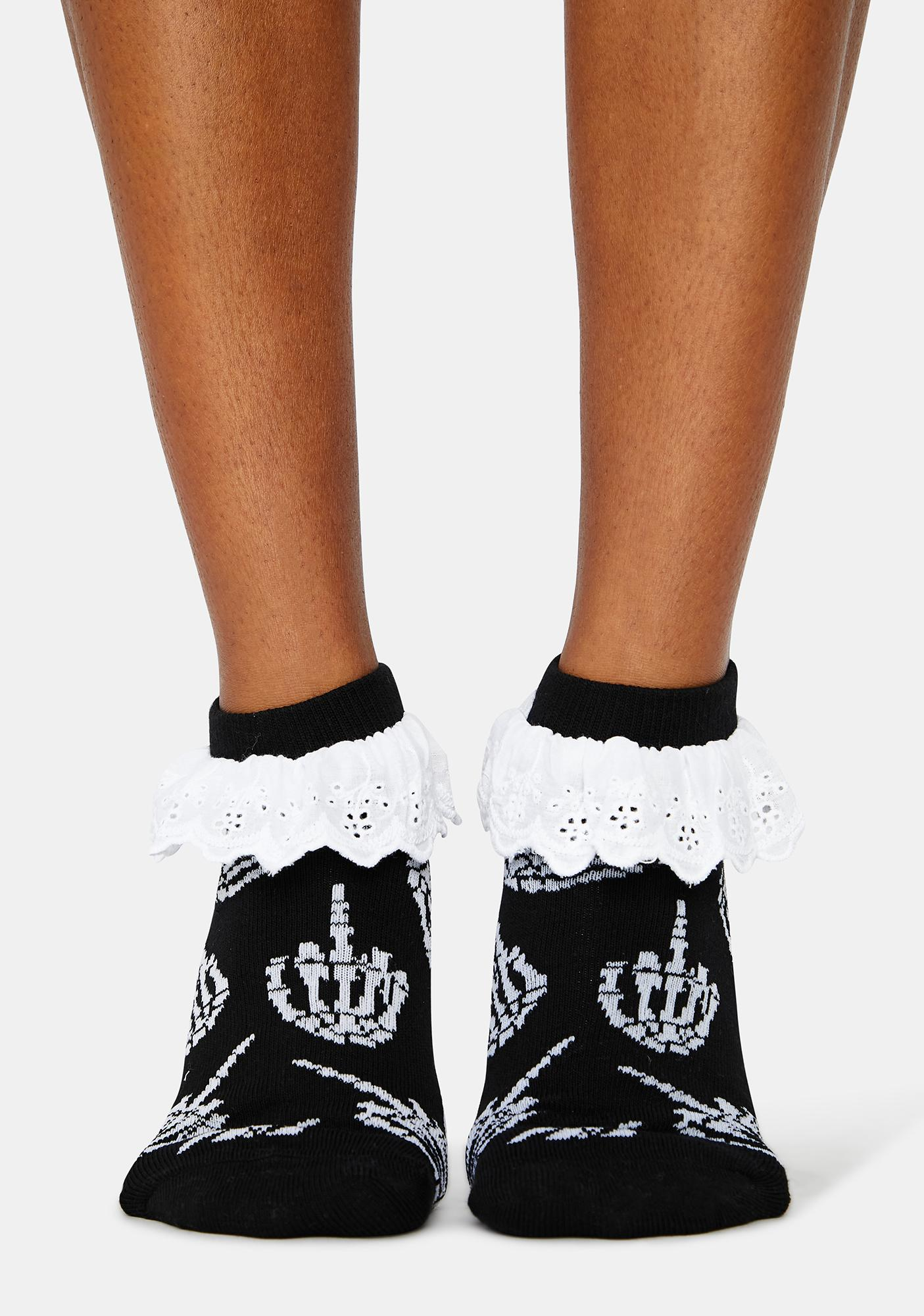 Too Fast Up Yours Skeleton Ruffle Socks