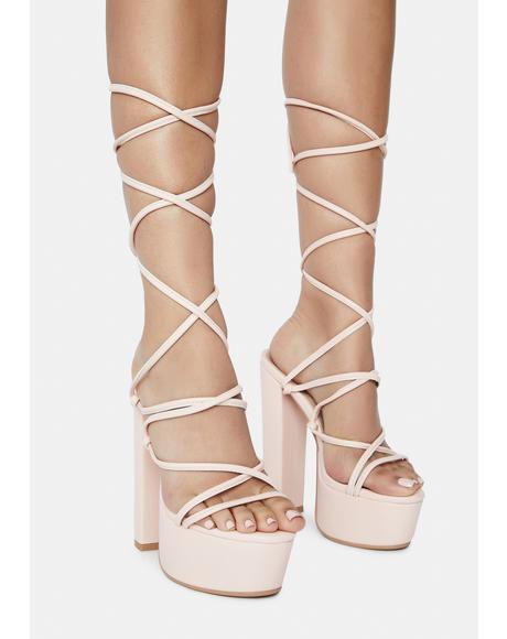 Pink Chello Wrap Platform Heels