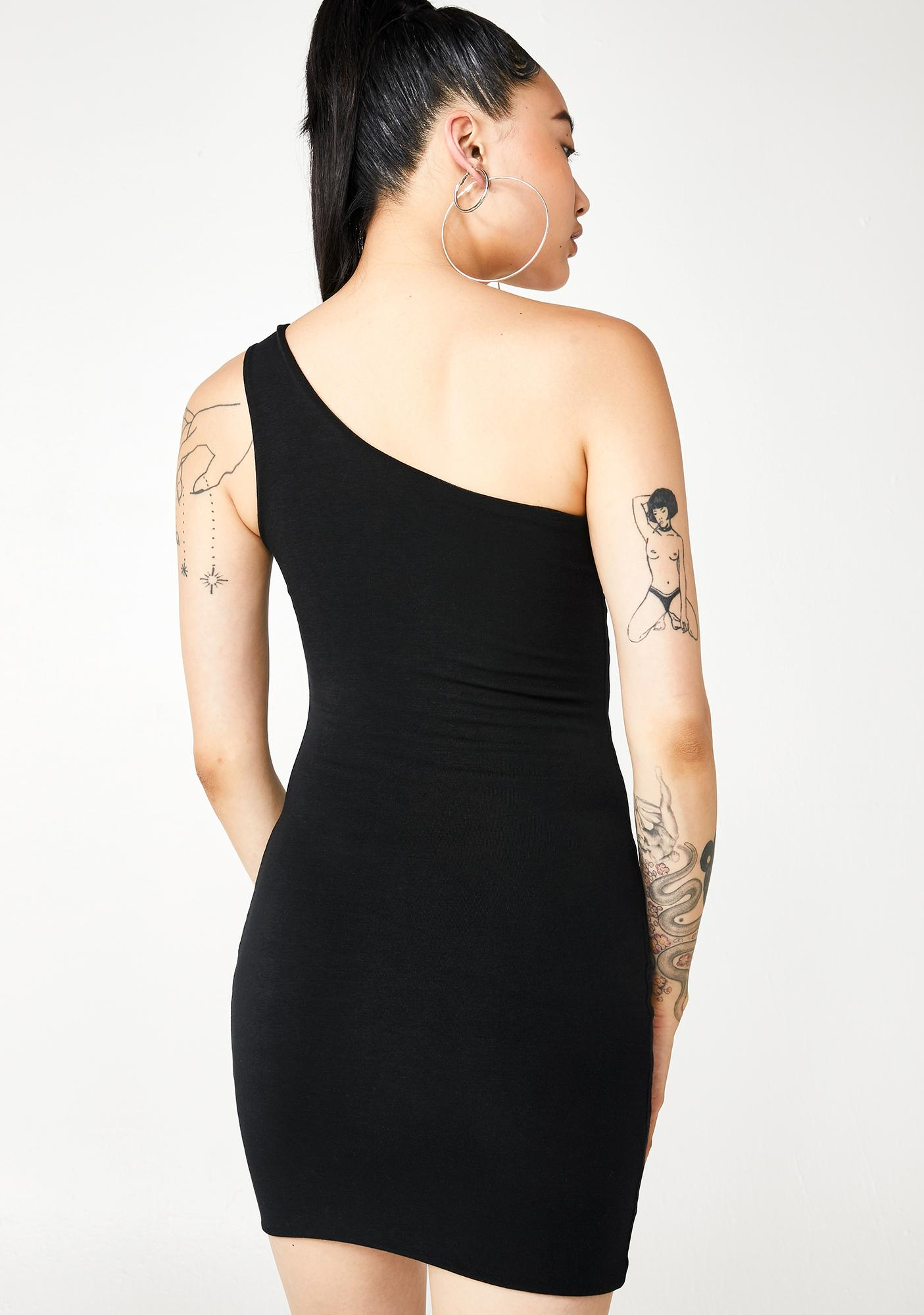 Sash Slasher One Shoulder Mini Dress