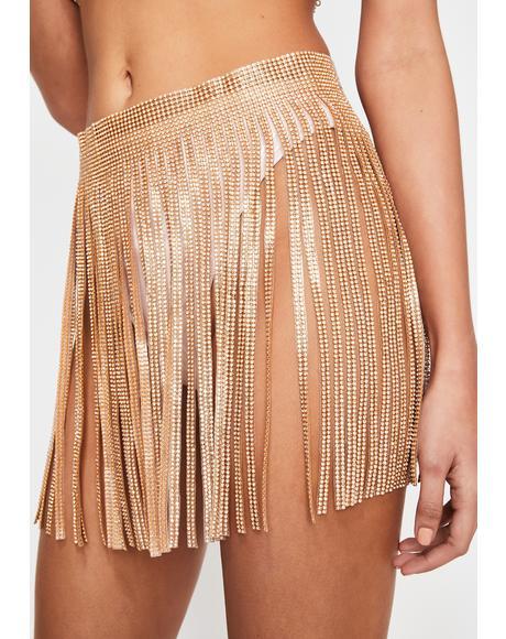Golden Millionaire Mami Crystal Fringe Skirt