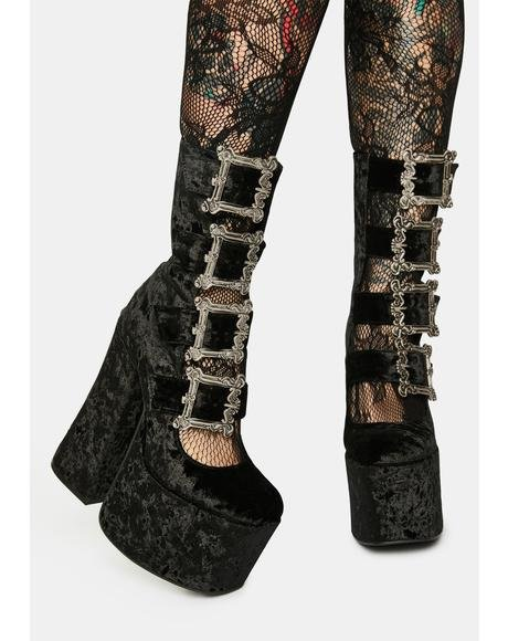 Through The Woods Velvet Buckle Platforms
