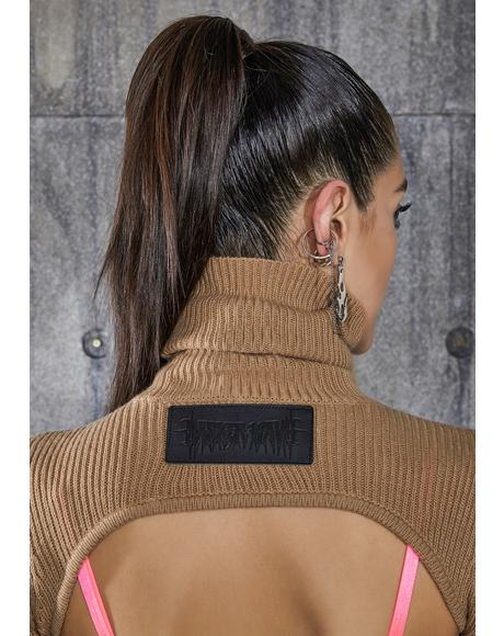 Snare Tan Open Back Turtleneck Crop Sweater