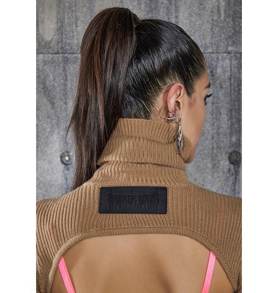 DARKER WAVS Snare Tan Open Back Turtleneck Crop Sweater