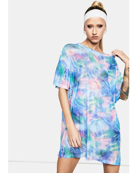 Ocean Breeze Oversized Mesh Tee