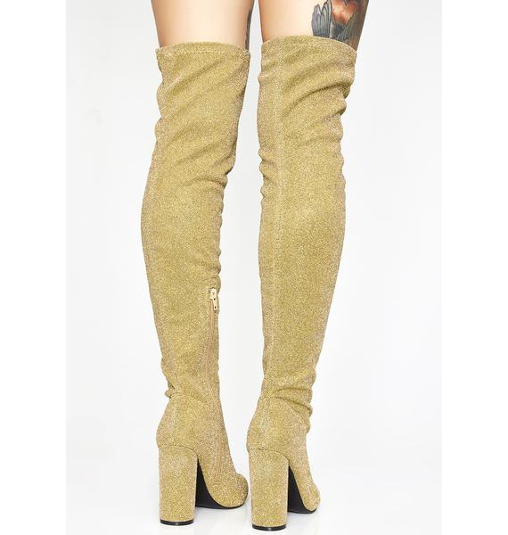 Golden Glambition Thigh High Boots