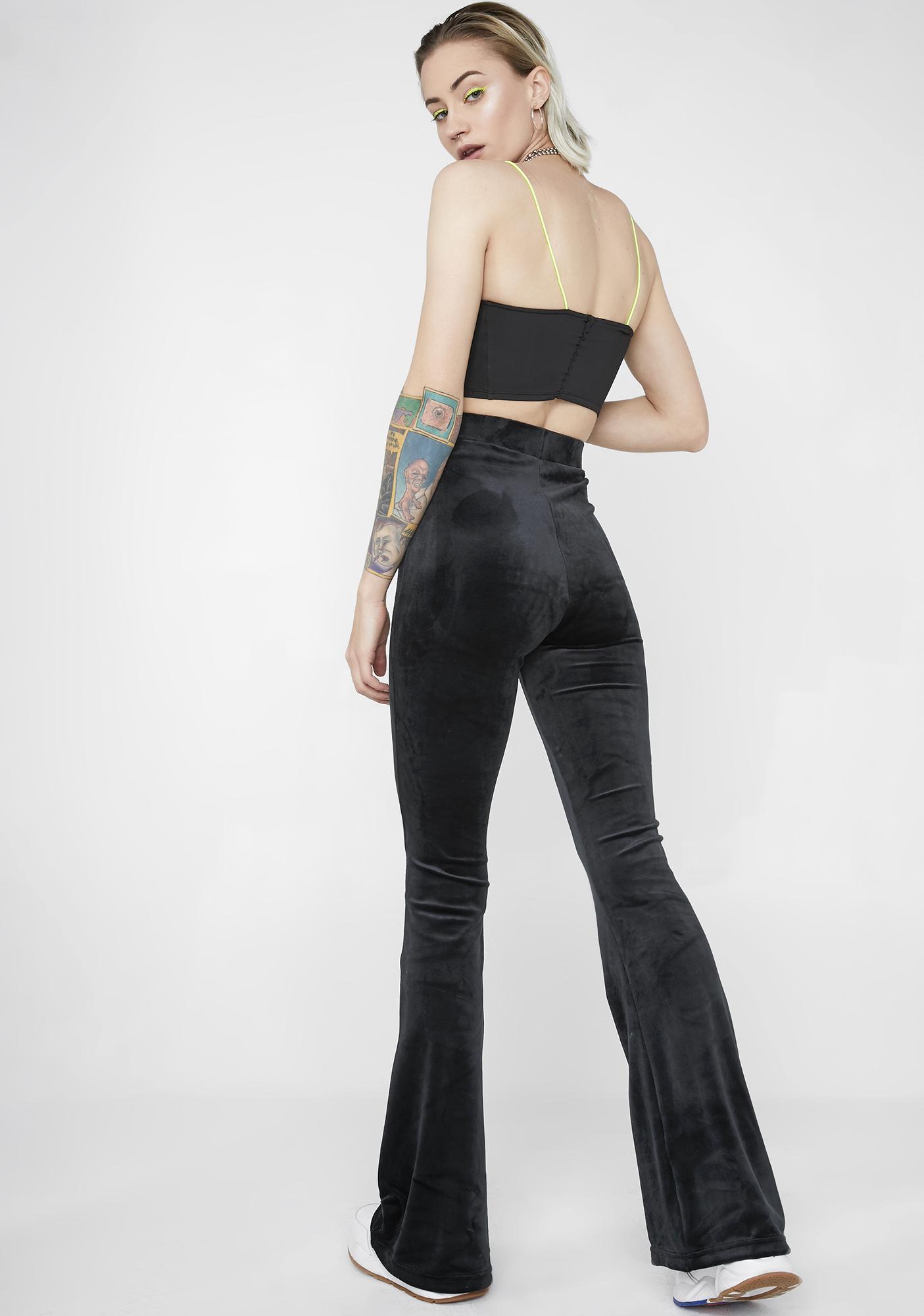 Fila Tonia High Waisted Flared Velour Pants