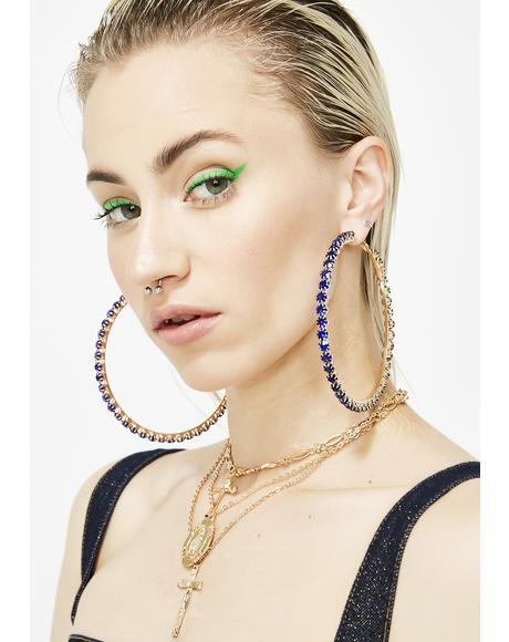 Bling Royalty Hoop Earrings