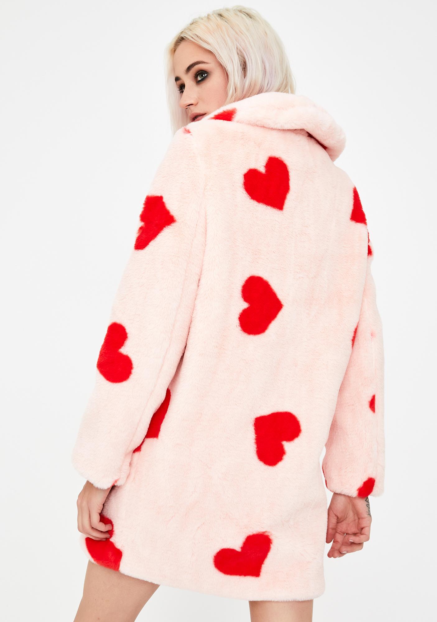 Daisy Street Heart Print Faux Fur Coat