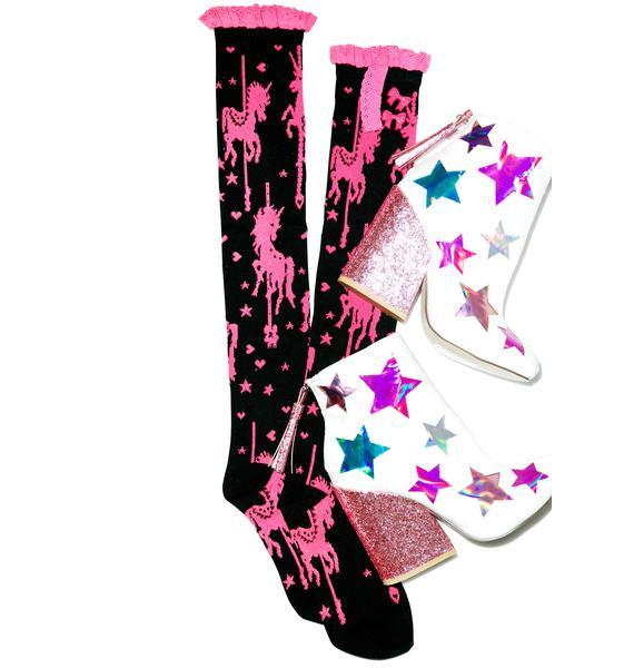 Unicorn Carousel Knee High Socks
