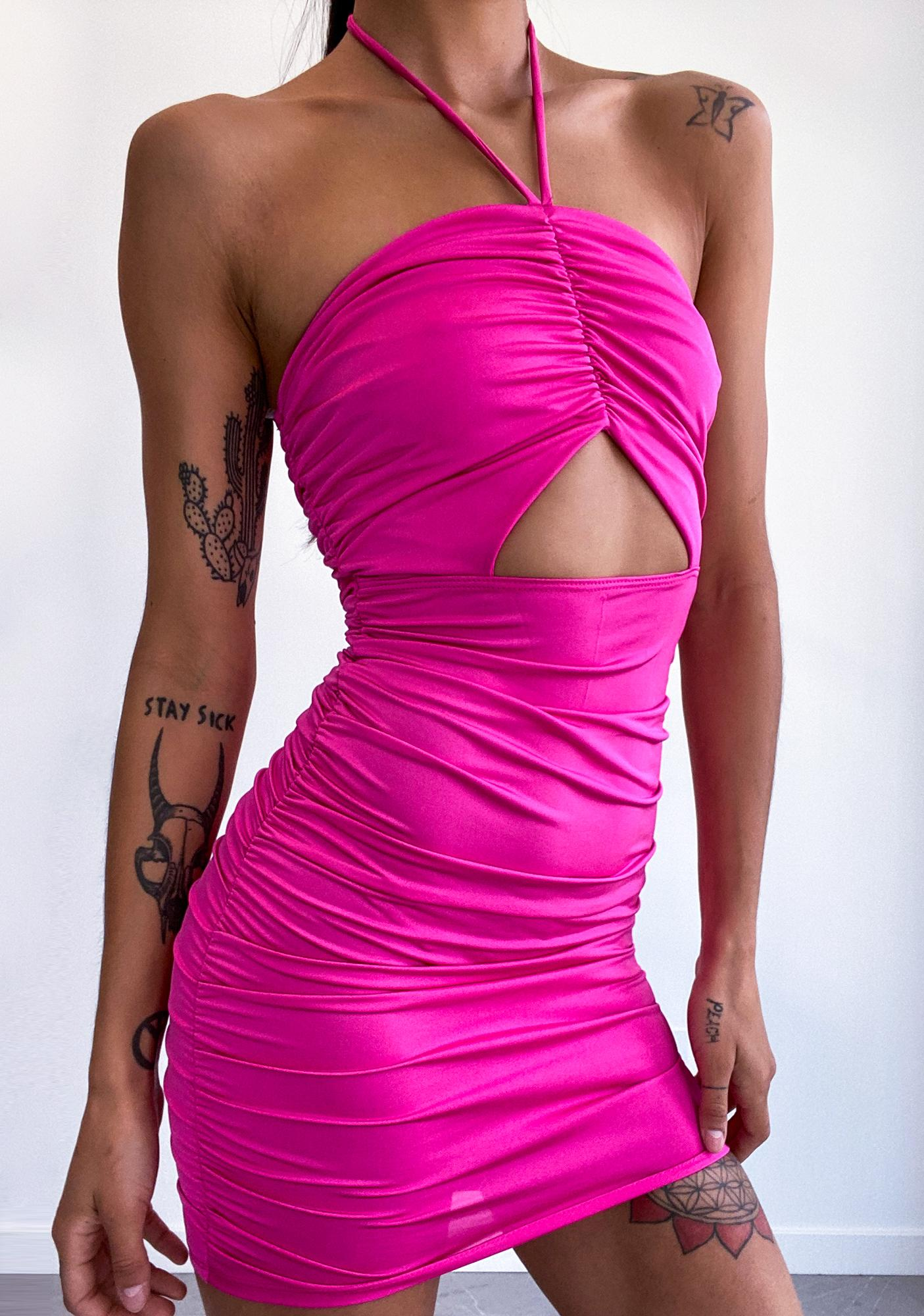 Fuchsia Out Tonight Ruched Dress