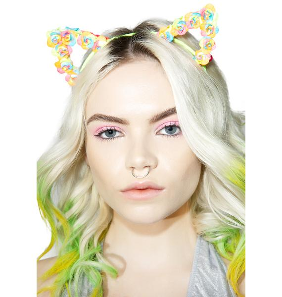 BrittsBlossoms Neon Floral Kitty Ears