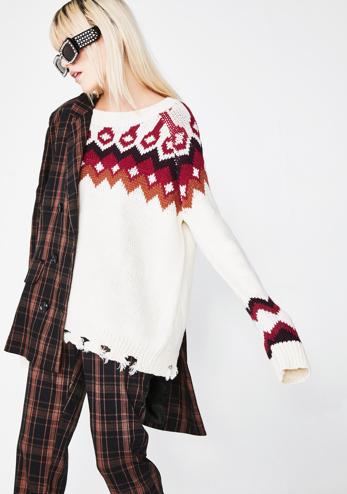 Honey Punch Snowy So Cold Isle Sweater