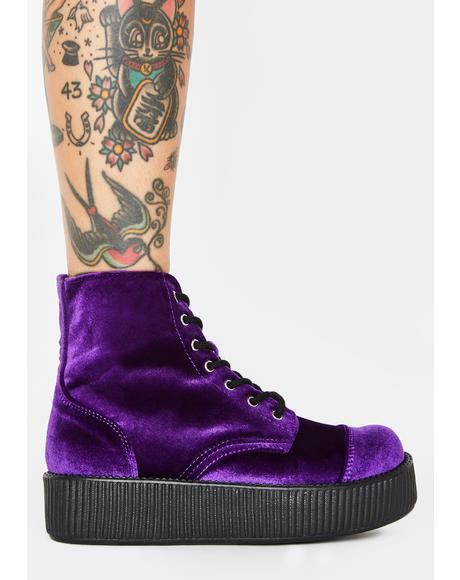 Violet Velvet Viva Mondo Creeper Boots