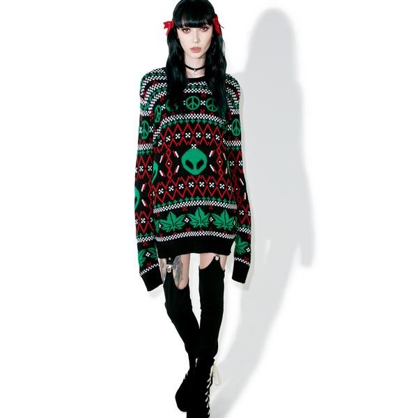 Current Mood Cannabis Christmas Sweater