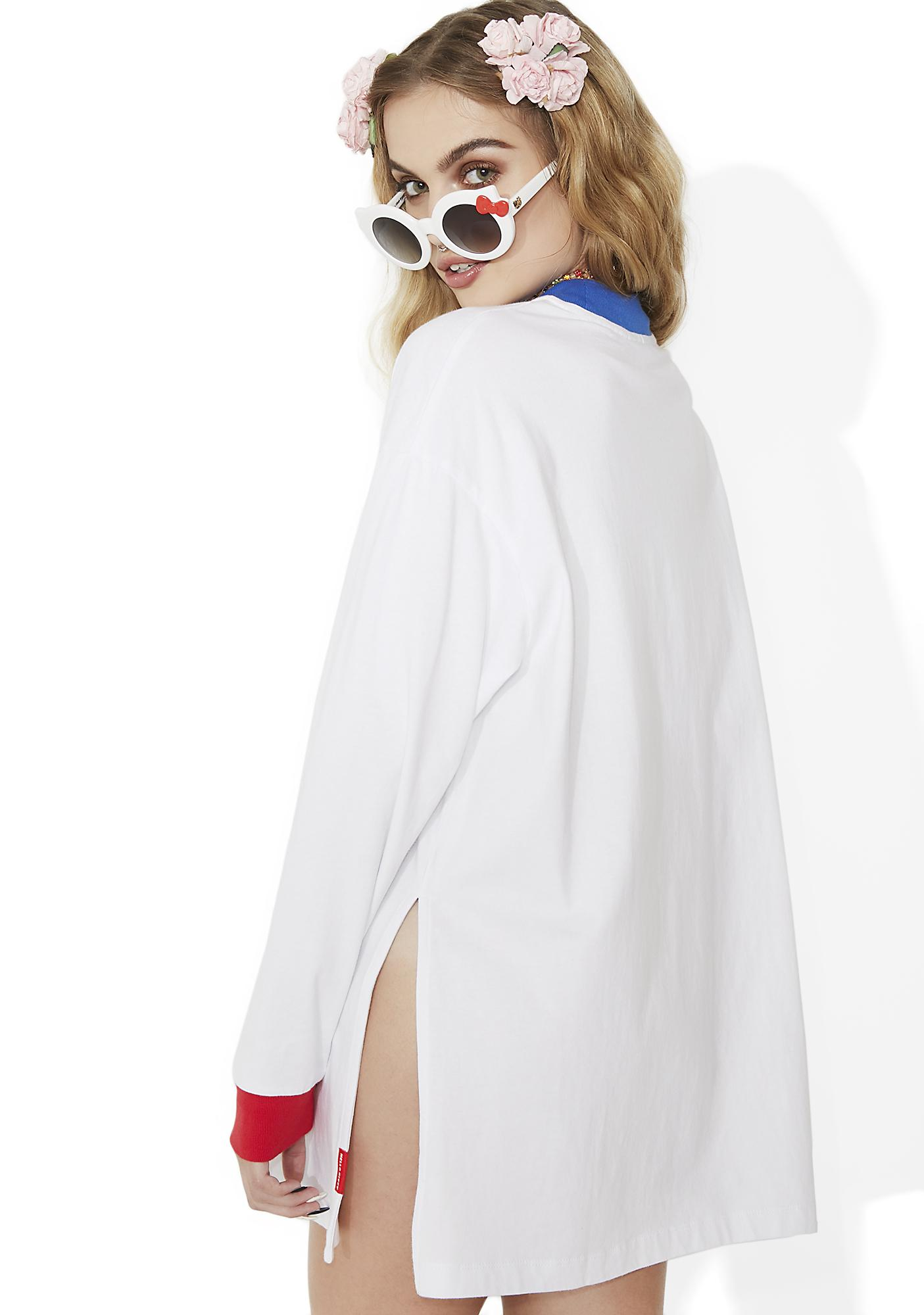 Lazy Oaf Hello Kitty Long Sleeve Split T-Shirt