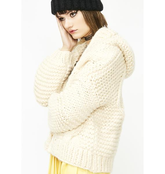 Latte Knotty Babe Oversized Cardigan