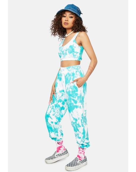 Aqua Gotta Get My Way Tie Dye Joggers