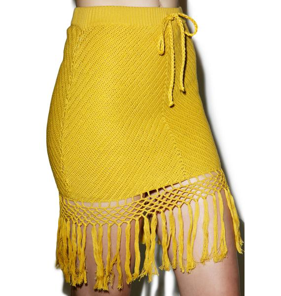 Mink Pink Adore You Fringe Crochet Skirt
