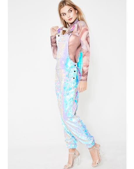 Unicorn Moonbeam Sequin Overalls