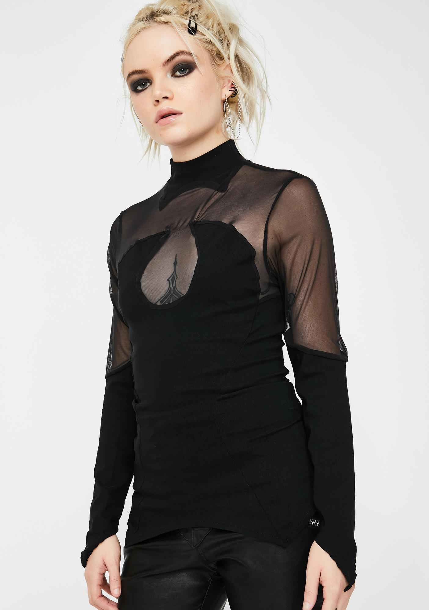 Necessary Evil Ananke Mesh Long Sleeve Top
