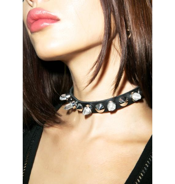 Killstar Crystal And Leather Choker