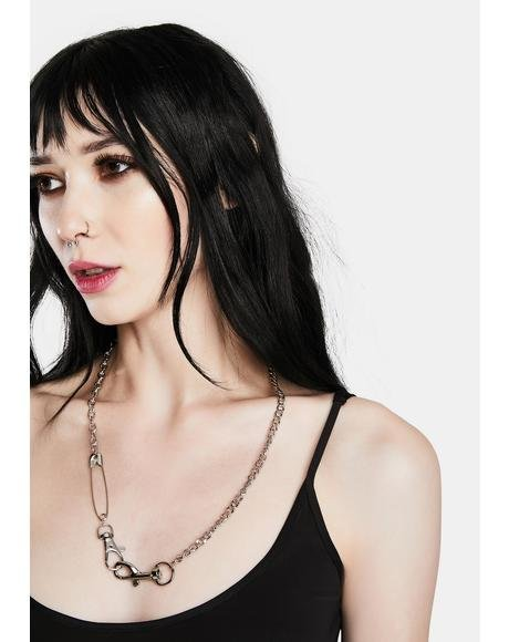 Punk Style Safety Pin Chain Necklace