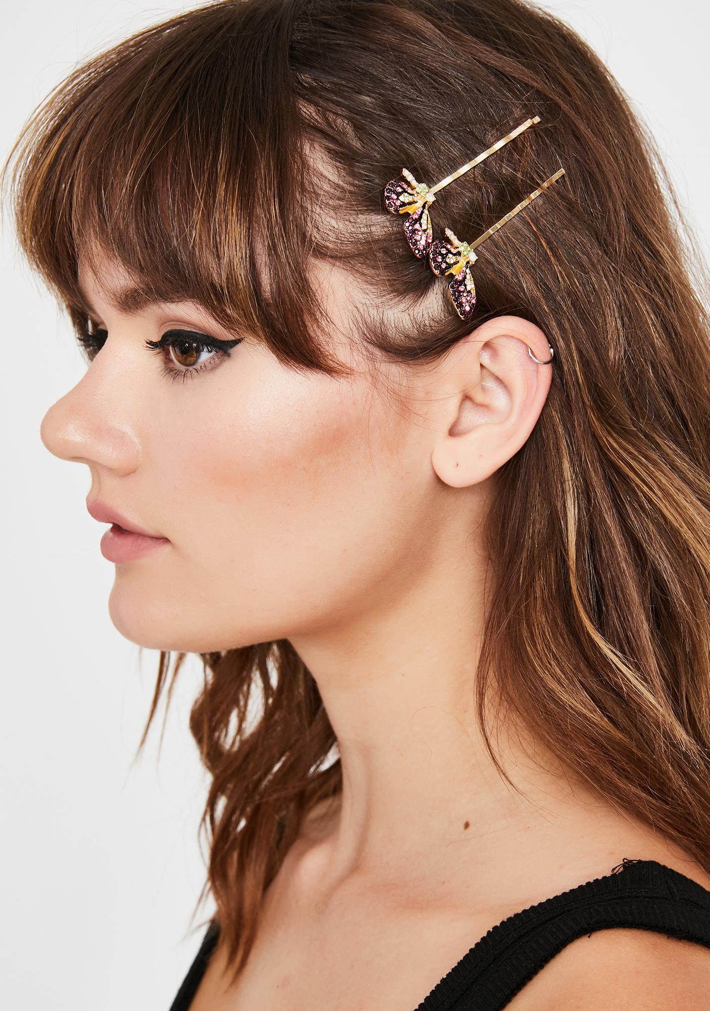 Lilac Fly Away With Me Butterfly Hair Clips