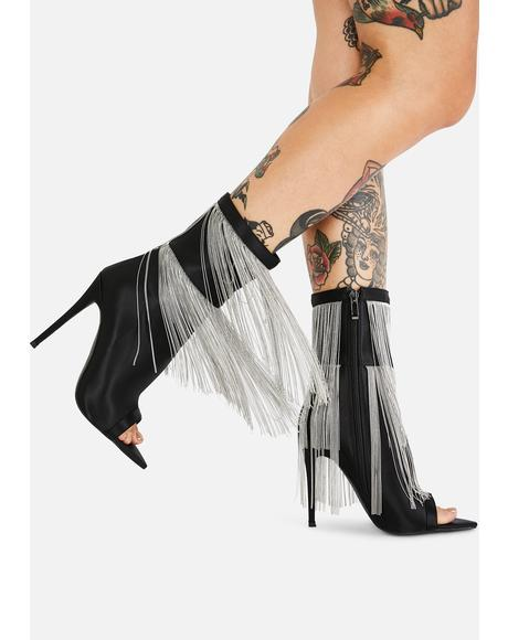 Yas Fringe Heeled Booties