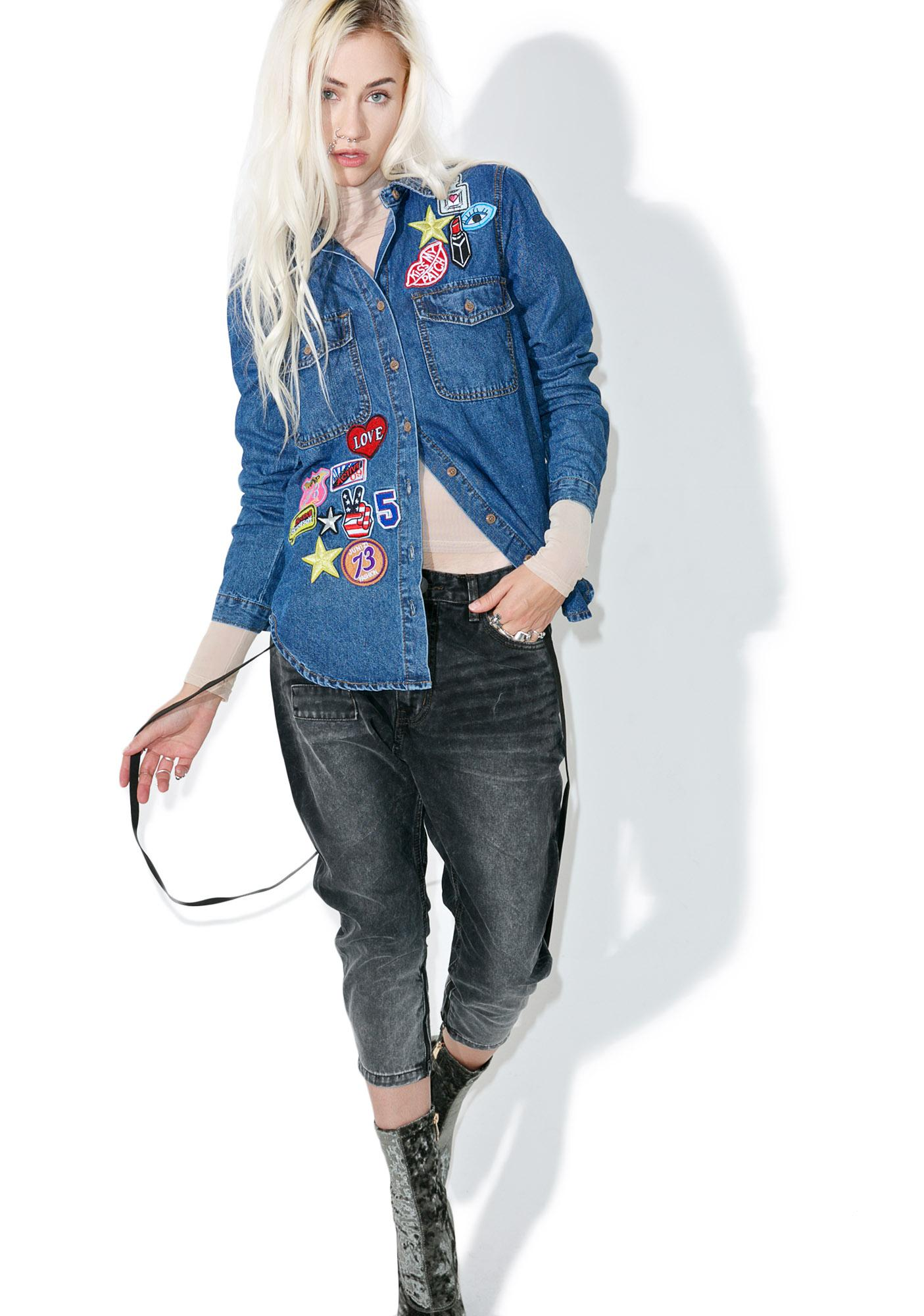 Glamorous Miss Patched Denim Shirt