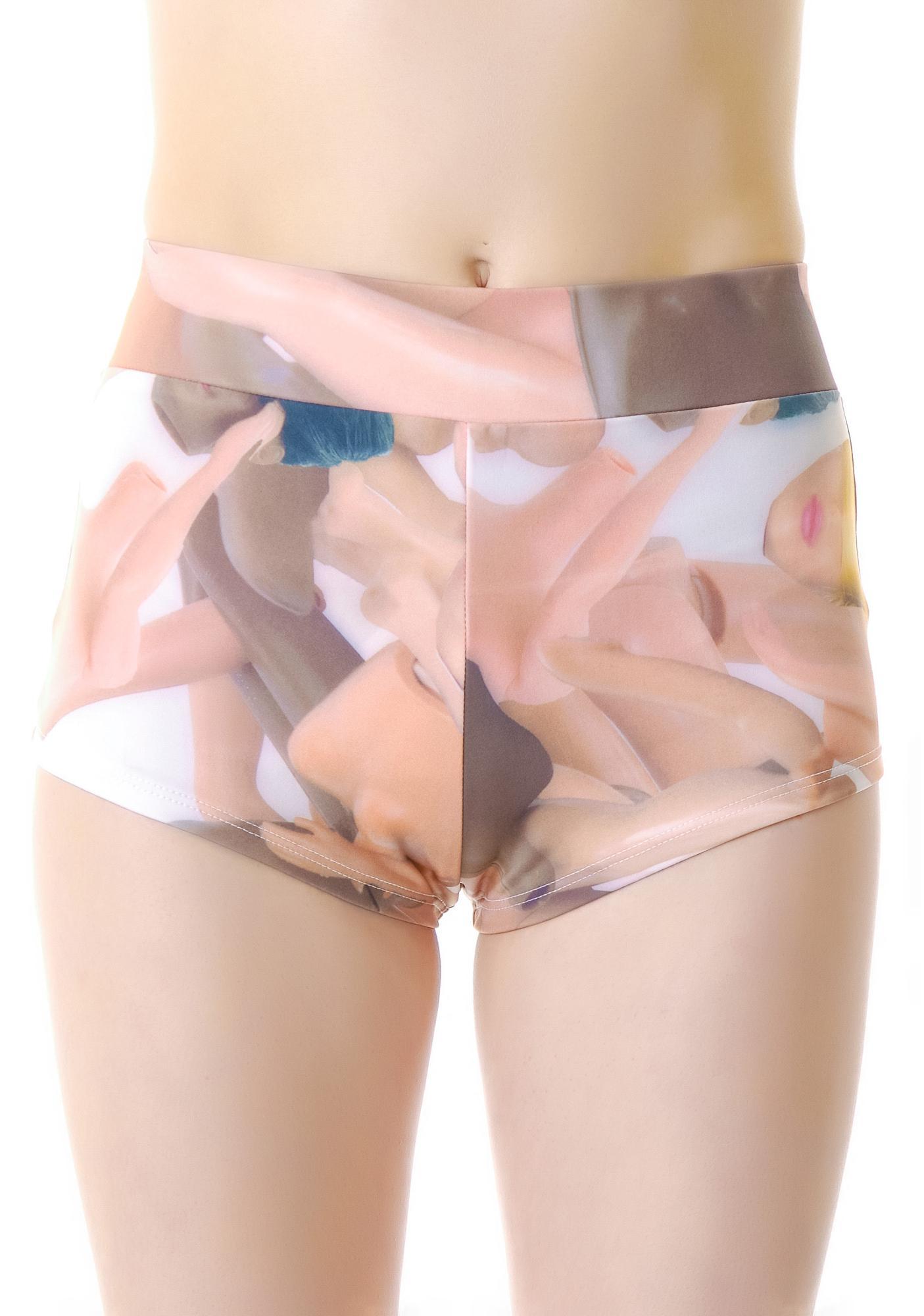 Coveted Society Broken Dolls Short Shorts