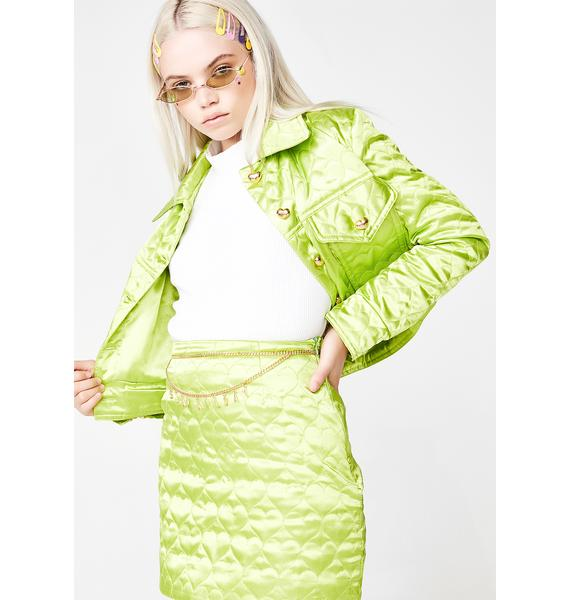 CheekLDN Kiwi Sweetheart Satin Jacket