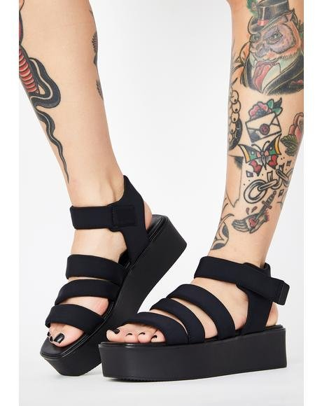 Black Textile Bonnie Gladiator Sandals