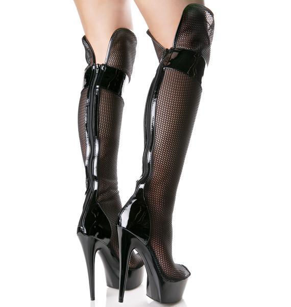 Mesh Attitude Peep-Toe Boots