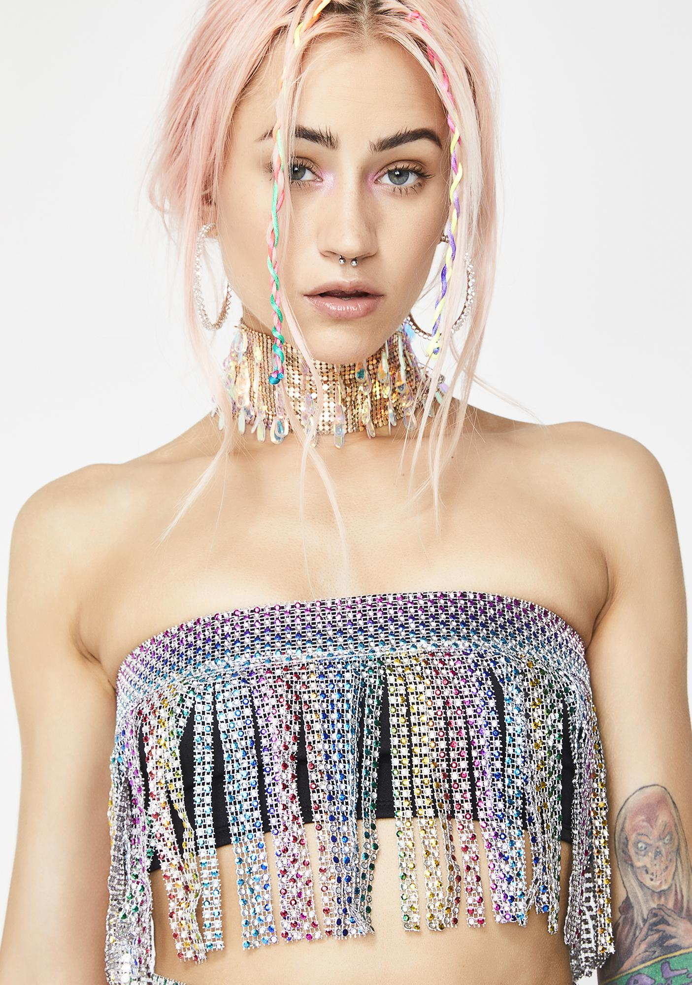 Jaded London Rainbow Diamante Fringe Bandeau Top