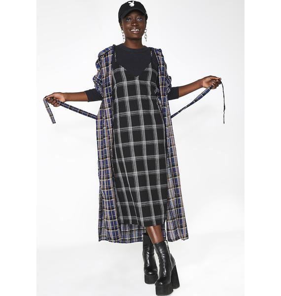 Raven Honeytrap Plaid Midi Dress