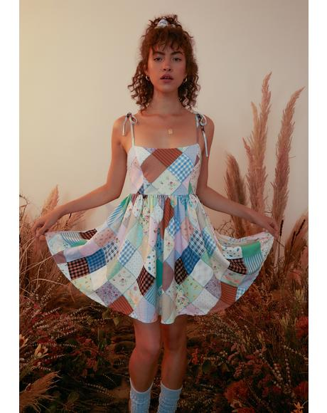 Stitched With Love Patchwork Mini Dress