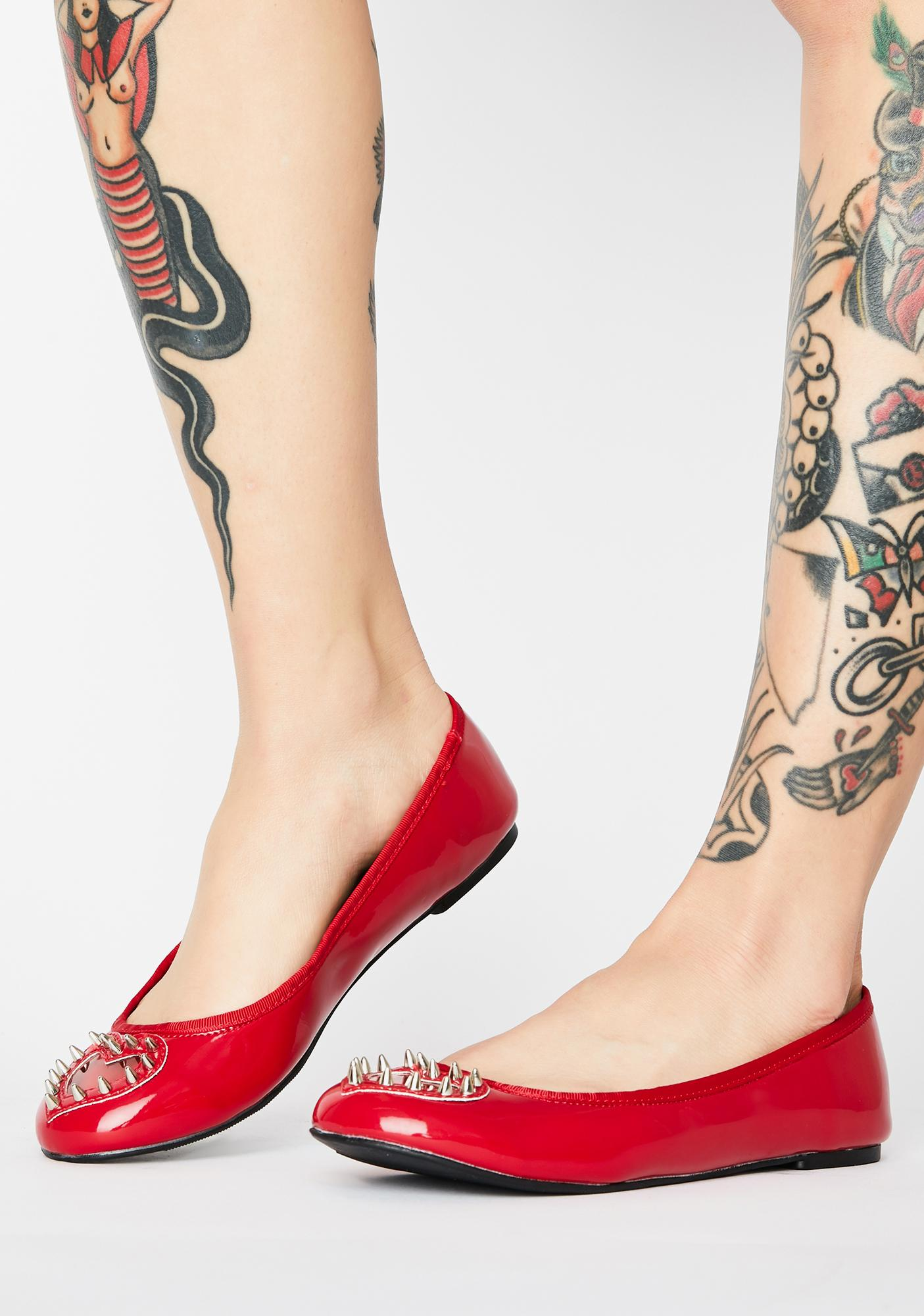 Demonia Red Tainted Love Flats