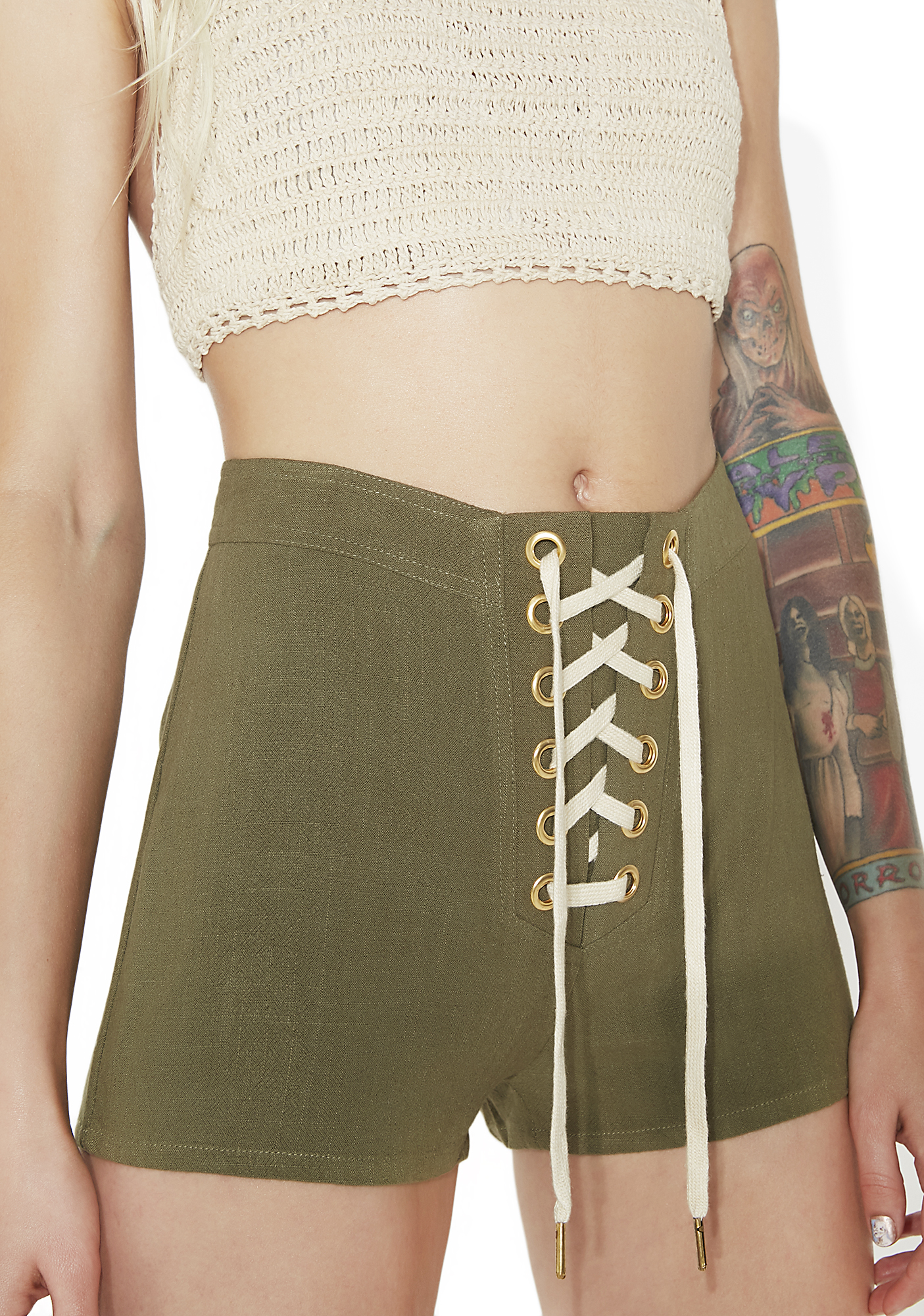 High Waist Lace Up Shorts Olive Green