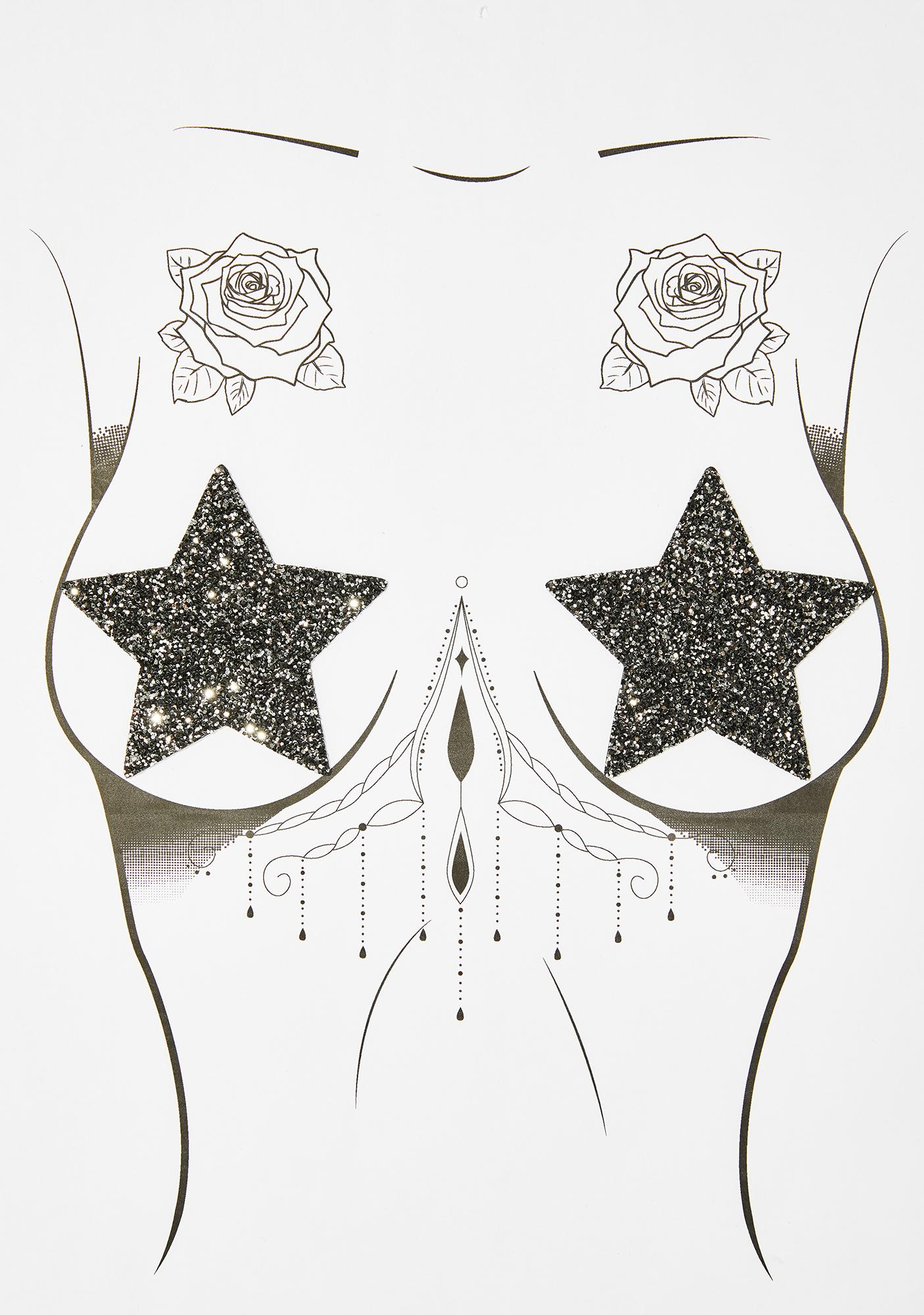 Neva Nude Midnight Super Sparkle Glitter Pasties