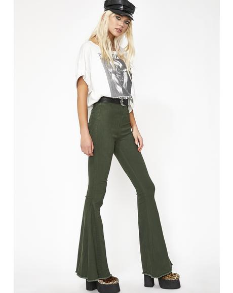 Emerald Hippie Chic Bell Bottoms
